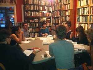 Members of Sarah Tourjee's Genre-Defying Prose workshop