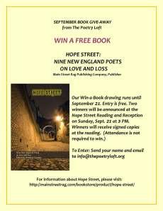 WIN A BOOK flyer HOPE STREET