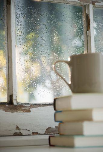 book in rain
